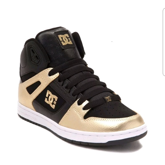 0003dc9bc117 DC Shoes - DC Skate Rebound High SE Gold and Black Shoes